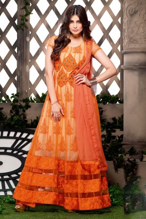 Buy Orange Net Embroidered Anarkali Suit with Orange Chiffon Dupatta  Online