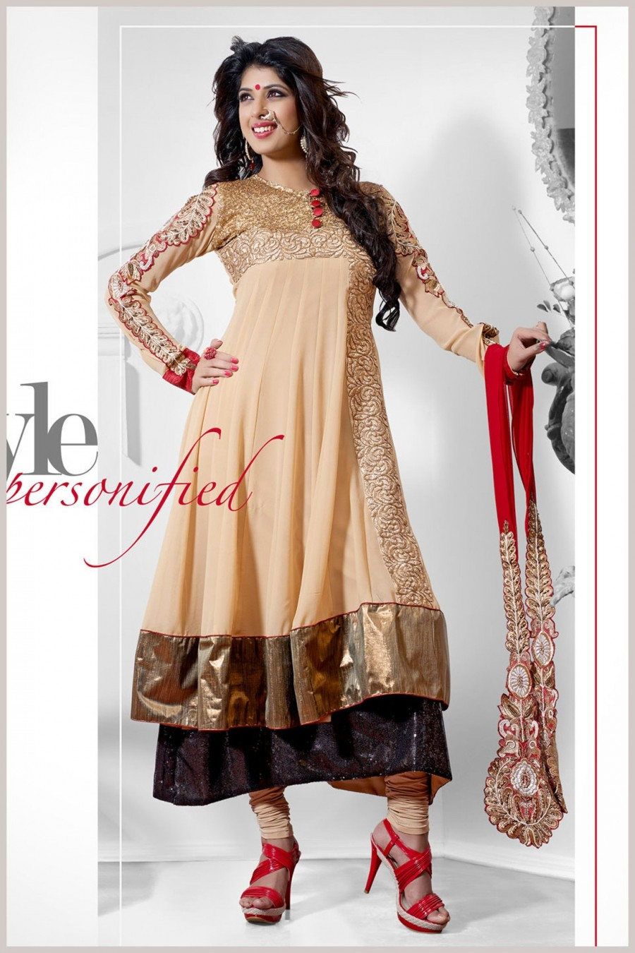 Buy Aishwarya Sakhuja Cute Cream Color Double Layered Anarkali Suit Showing Heavy Embroidery Work with Dupatta Online