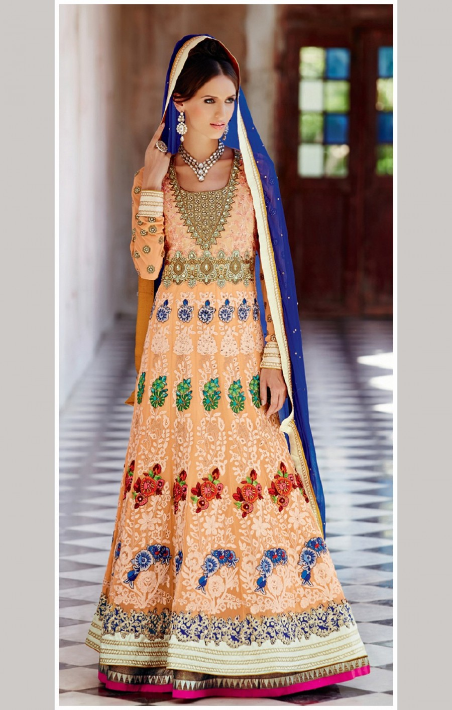Buy Peach Georgette Floral Embroidery Worked Fancy Suit with Blue Dupatta Online