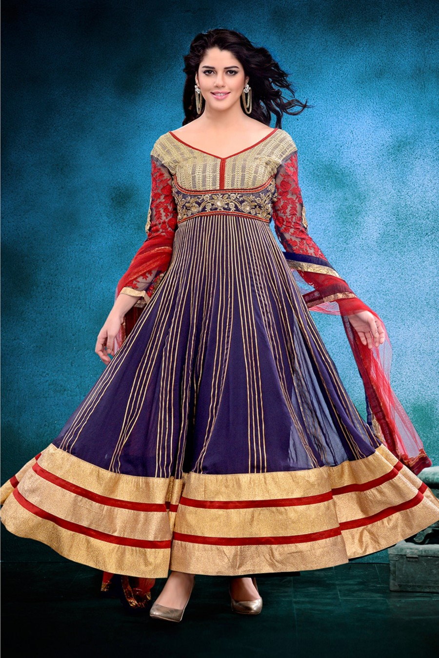 Buy Navy Blue Georgette Semi-stitched Anarkali Suit with Red Net Dupatta Online