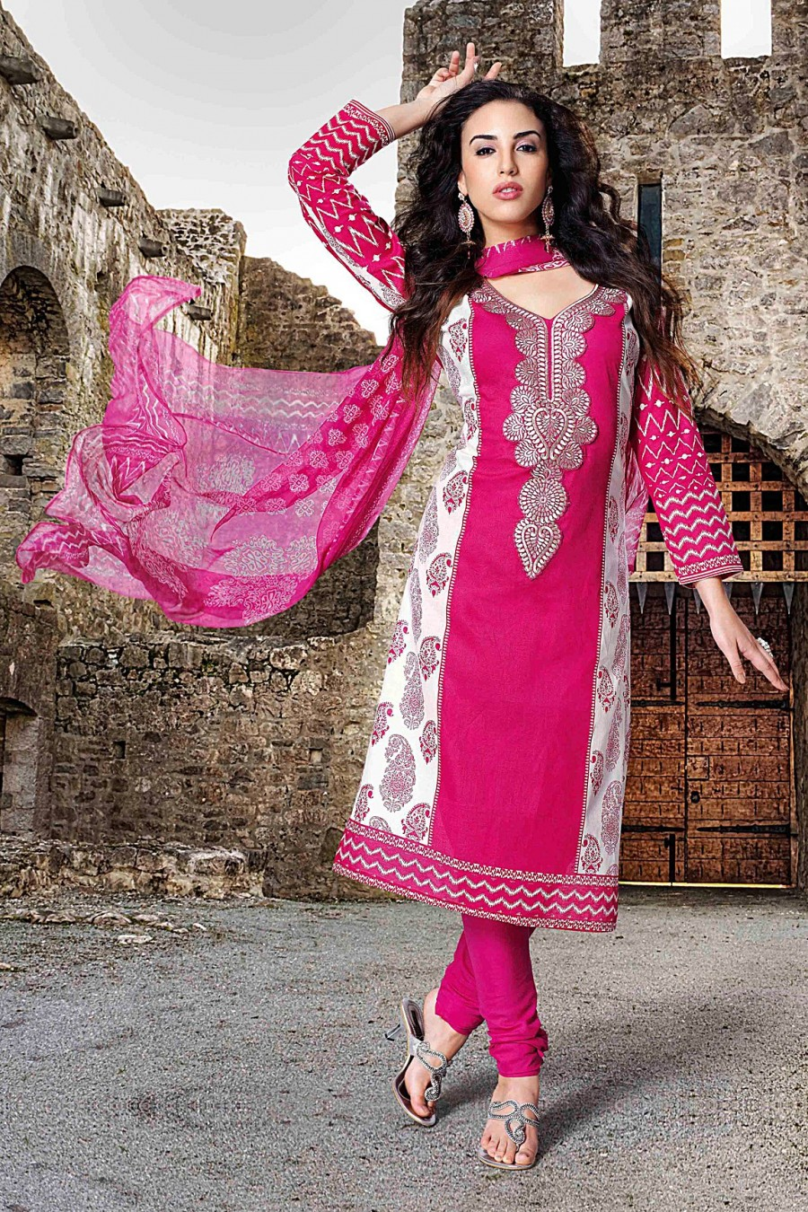 Buy Pink and White Cambric Salwar Kameez with Pink Printed Dupatta Online