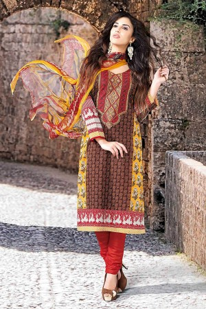 Buy Brown and Yellow Cotton Salwar Kameez with Chiffon Dupatta Online