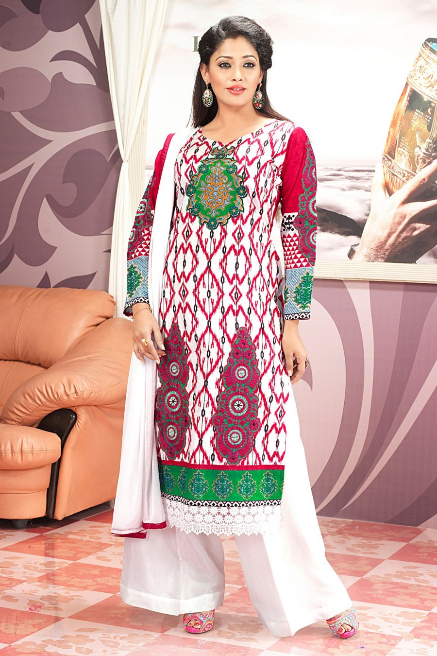 Buy White and Pink Printed Salwar Kameez with White Chiffon Dupatta Online