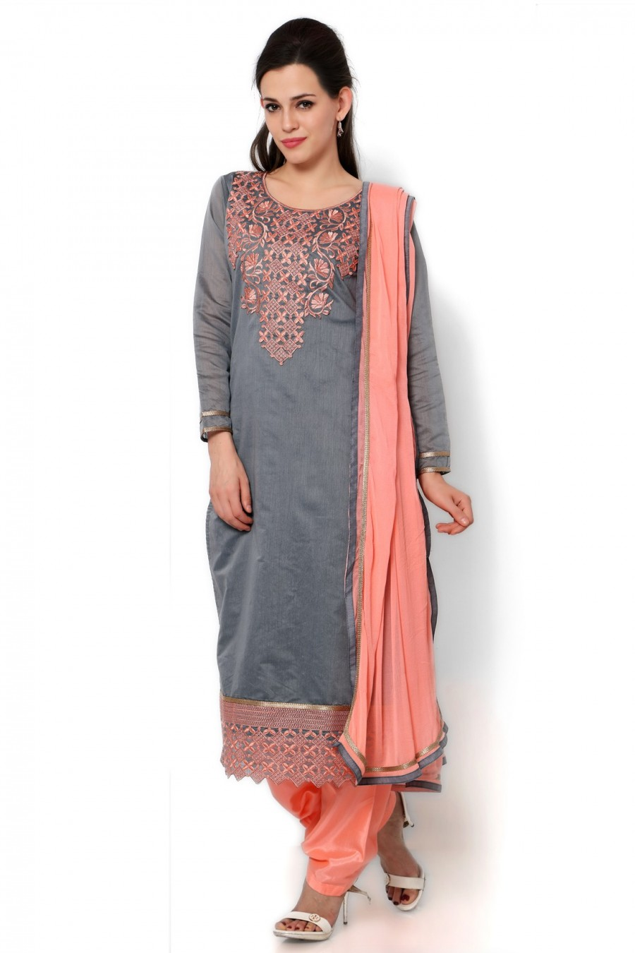 1bf269af46 Shop for Grey Chanderi Dress Material with Bottom and Dupatta | 505755
