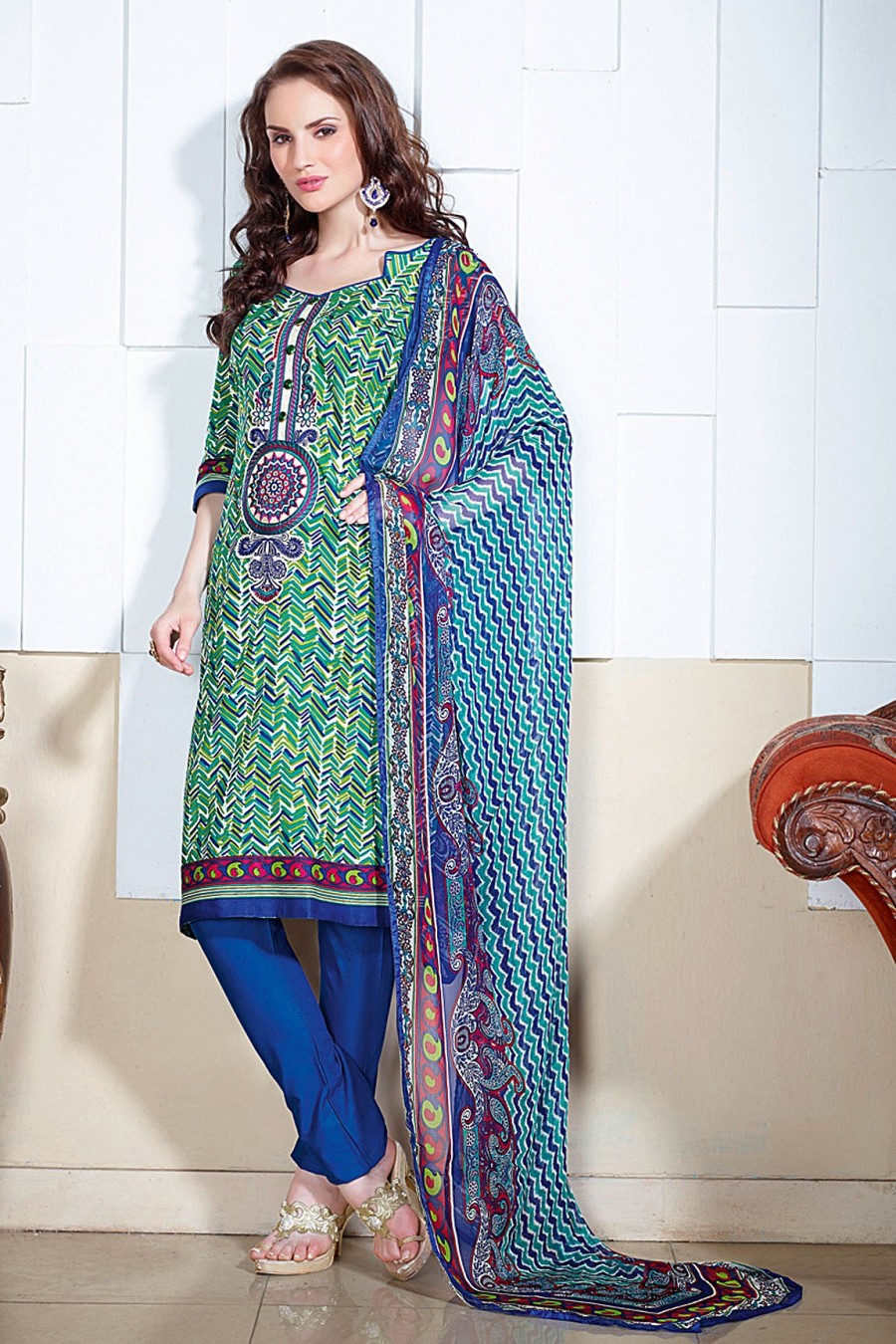 Buy Multi-color Printed Salwar Kameez with Chiffon Dupatta Online