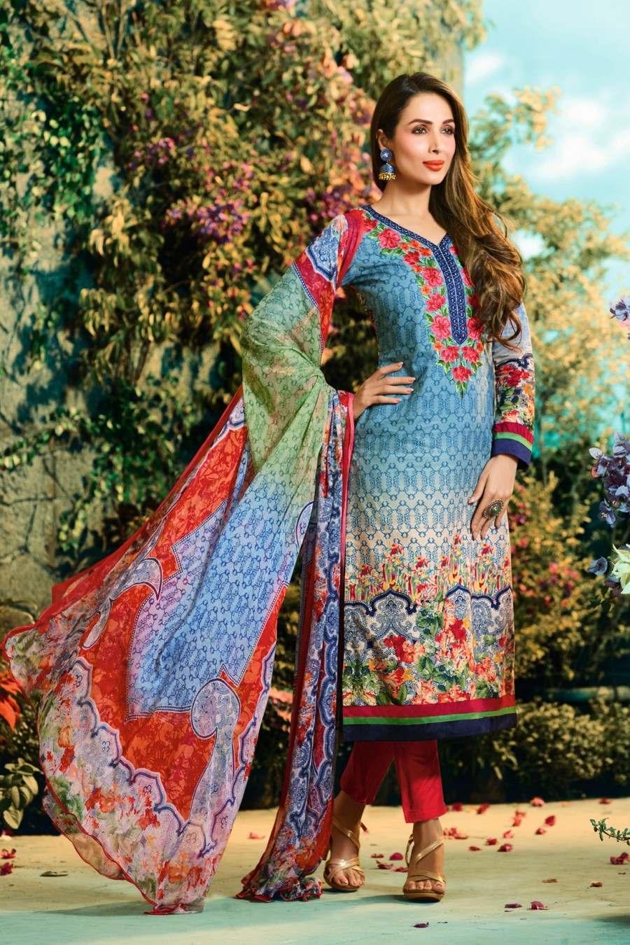 Buy Malaika Arora Multi Color Cotton Digital Print Dress Material with Pure Chiffon Dupatta Online