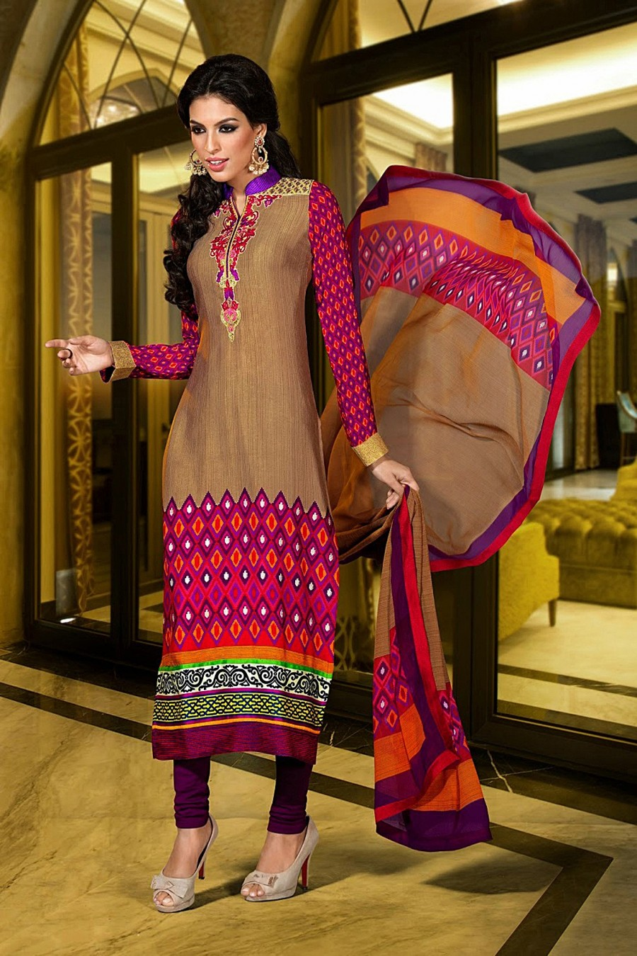 Buy Brown French Crepe Printed Salwar Kameez with Crepe Bottom and Chiffon Dupatta  Online