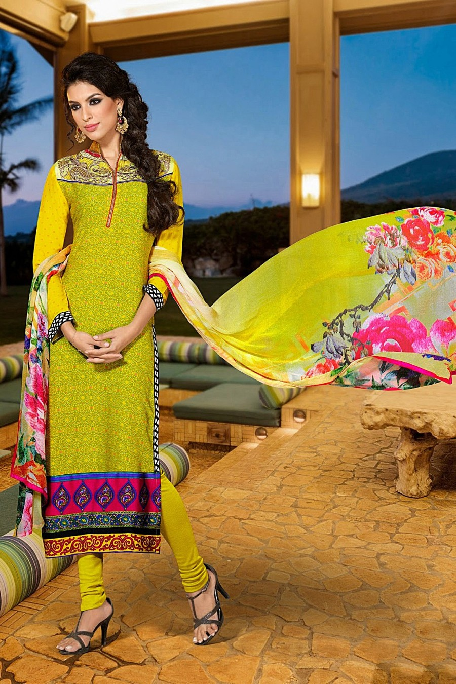 Buy Yellow French Crepe Salwar Kameez with Chiffon Dupatta  Online