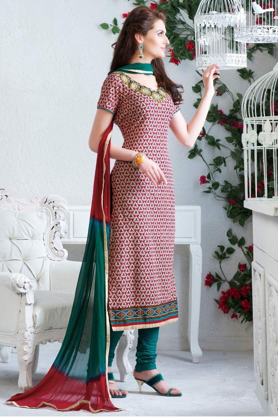 Buy RED COTTON PRINTED SALWAR KAMEEZ WITH GREEN BOTTOM AND CHIFFON DUPATTA  Online