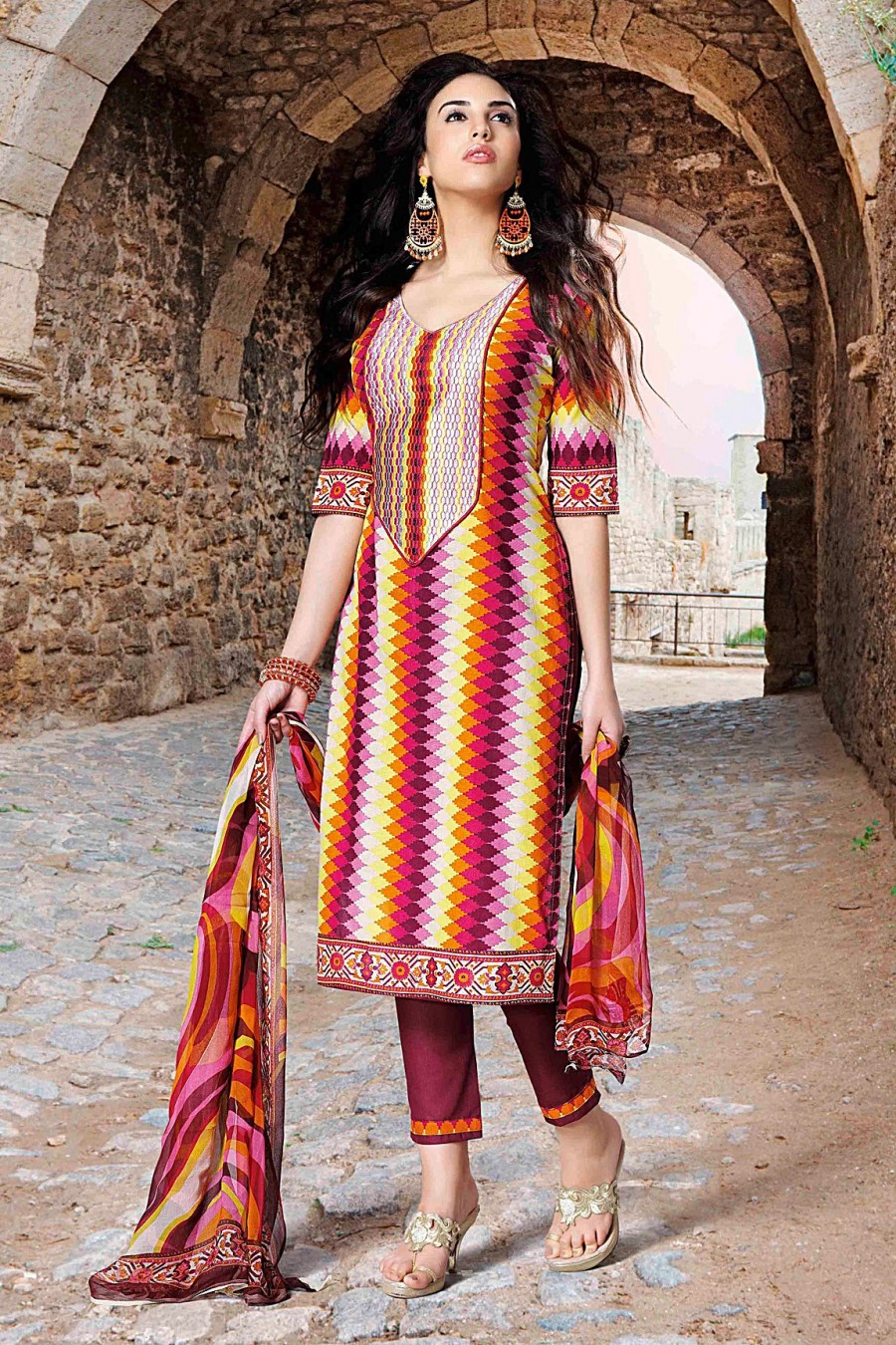 Buy Multi-color Cotton Salwar Kameez with Chiffon Printed Dupatta Online