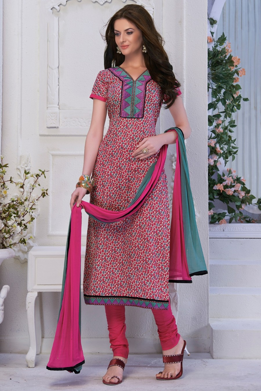 Buy PINK COTTON PRINTED SALWAR KAMEEZ WITH DUPATTA  Online