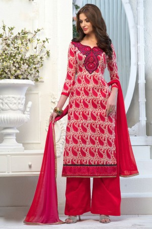 Buy Red Cambric Cotton Salwar Kameez with Chiffon Dupatta  Online