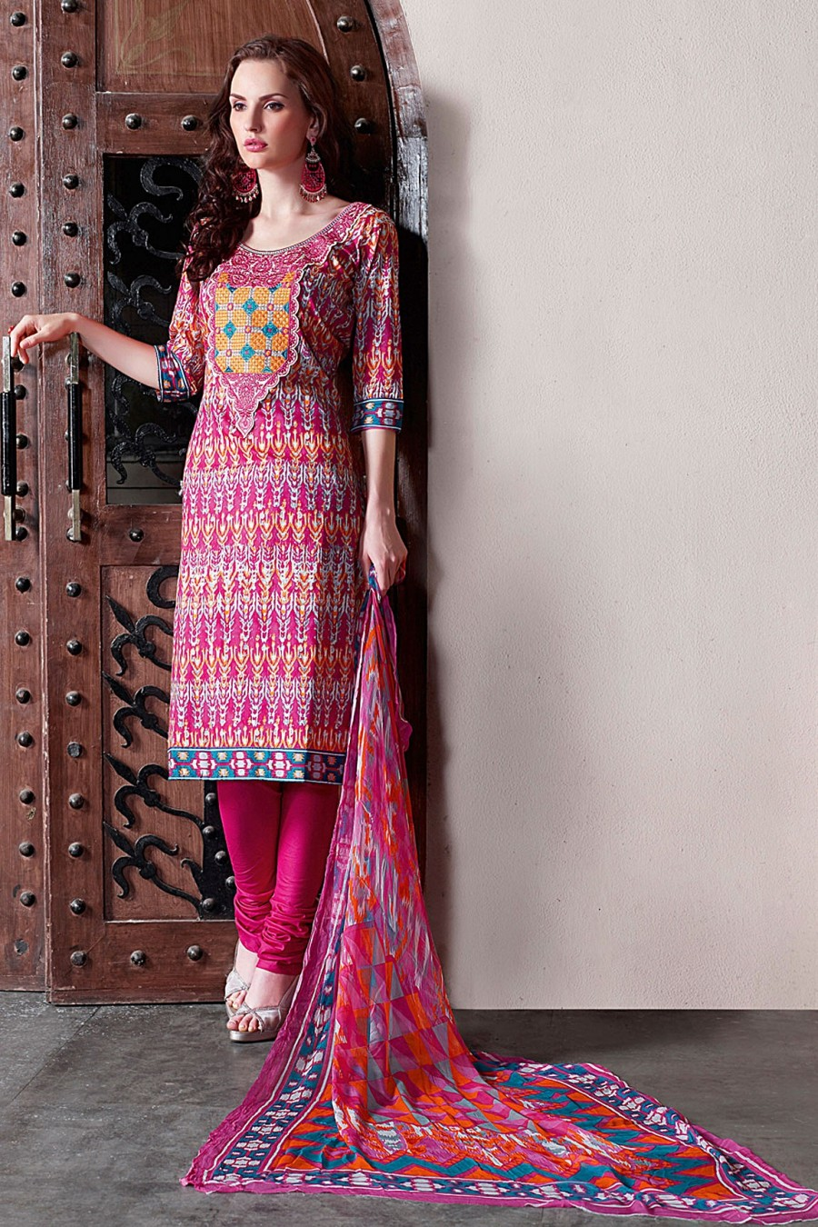 Buy Pink Cambric Cotton Printed Salwar Kameez with Chiffon Dupatta Online