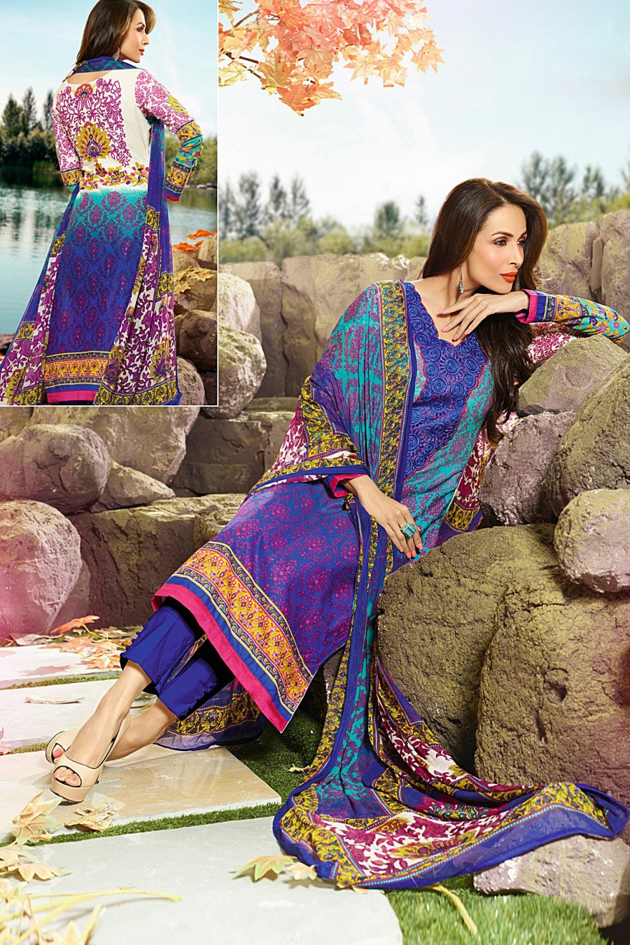 Buy Malaika Arora Khan Multi-color Salwar Kameez with Chiffon Dupatta  Online