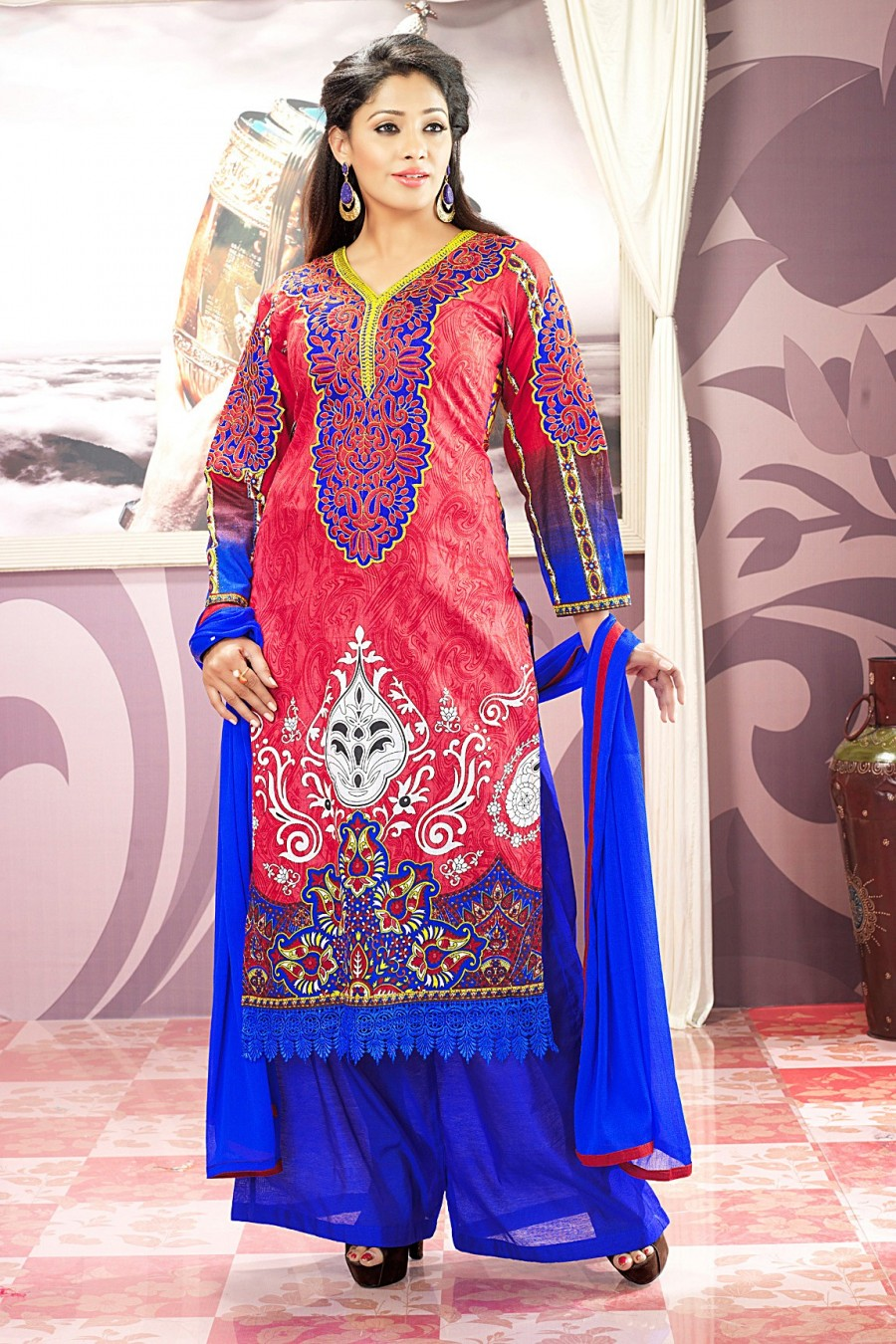 Buy Pink and Blue Printed Salwar Kameez with Blue Chiffon Dupatta Online