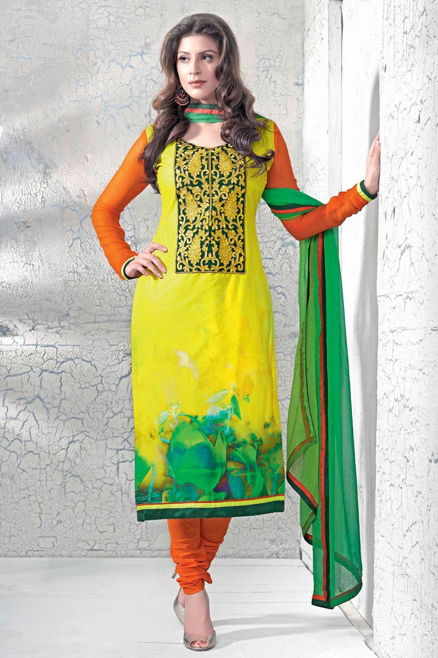 Buy Yellow Cotton Embroidered Salwar Kameez with Dupatta Online