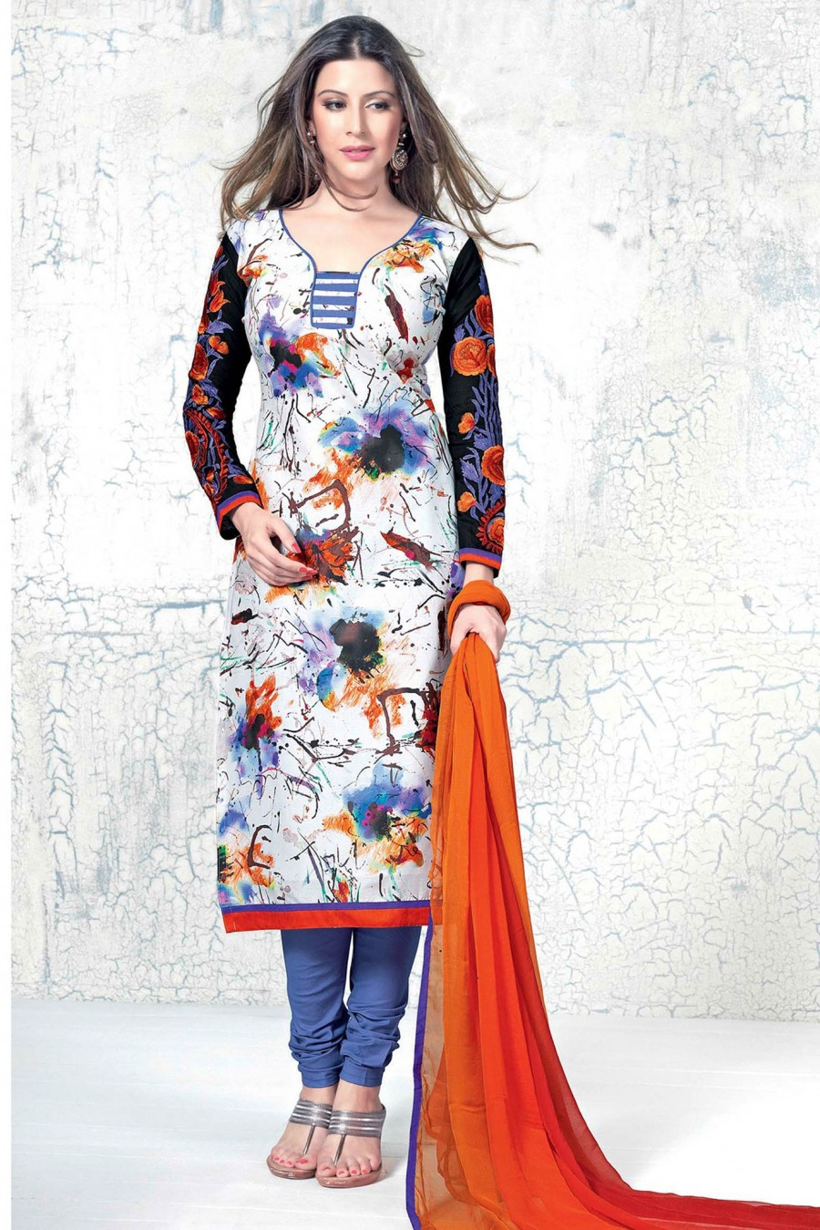 Buy White Printed Salwar Kameez with Orange Chiffon Dupatta Online