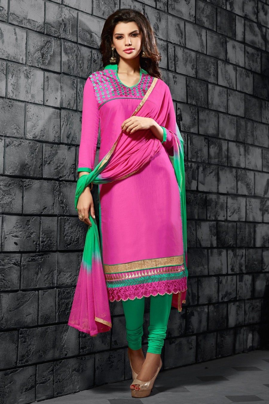 Buy Pink Cotton Embroidered Dress Material with Chiffon Dupatta  Online