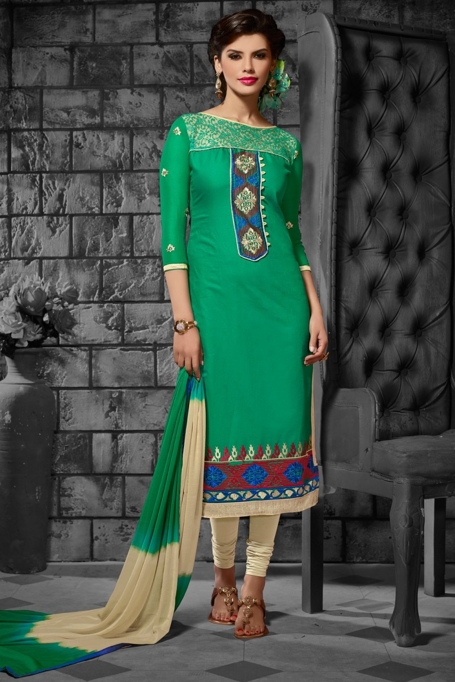 Buy Green Cotton Embroidered Dress Material with Bottom Dupatta  Online