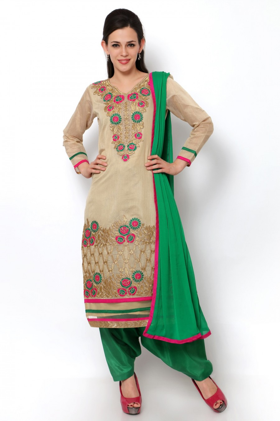 Buy Beige Chanderi Dress Material with Bottom and Dupatta Online