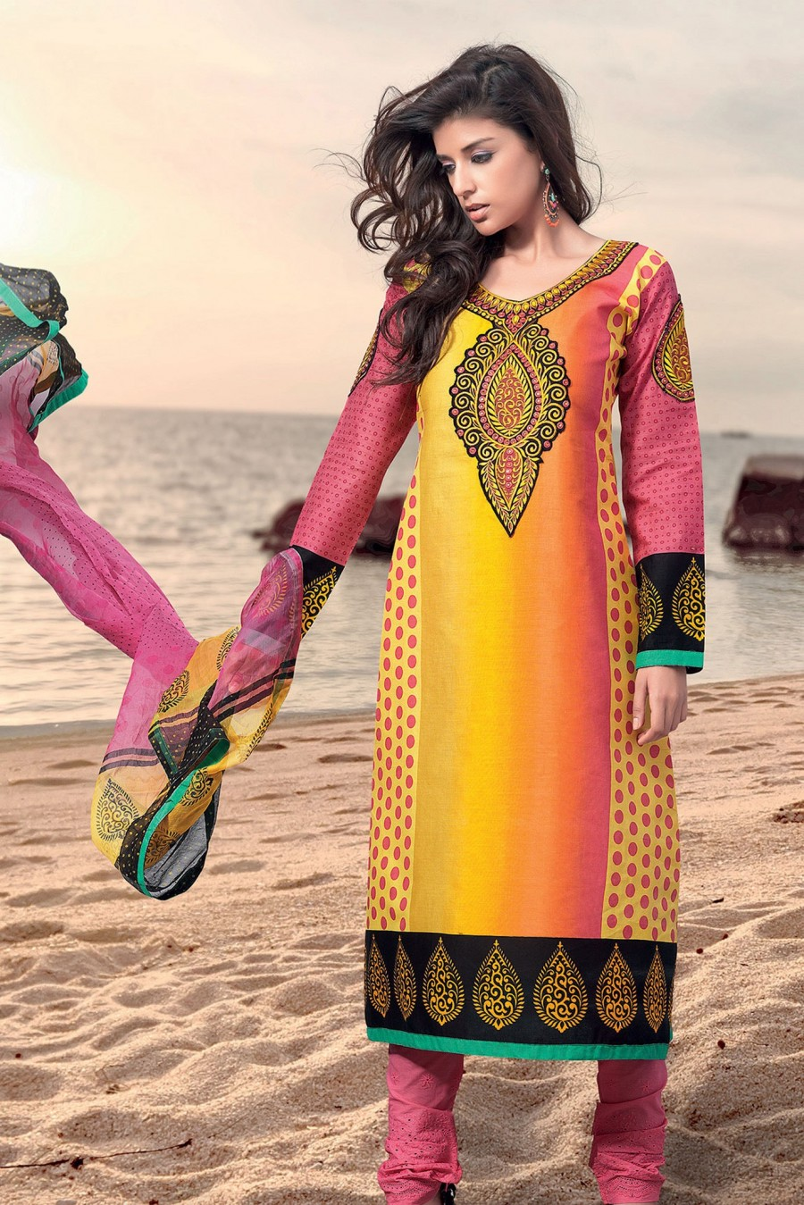 Buy Yellow Pure Cotton Salwar Suit Embellished with Embroidery Work with Dupatta Online