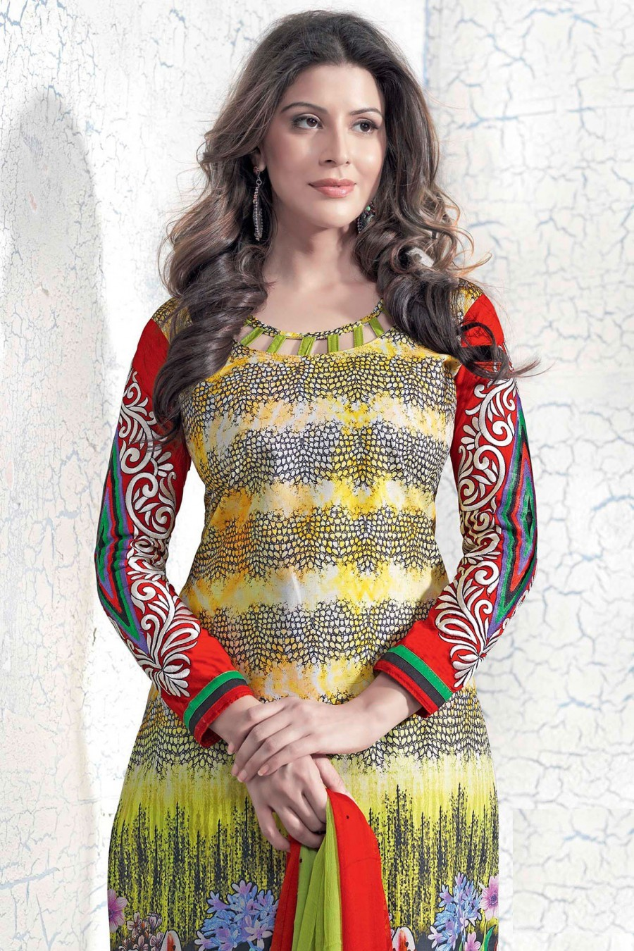 Buy MULTI-COLOR SALWAR KAMEEZ WITH GREEN DUPATTA  Online