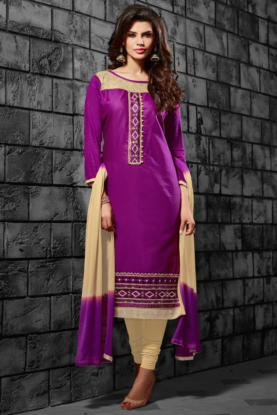 Buy Purple Cotton Embroidered Dress Material with Chiffon Dupatta Online