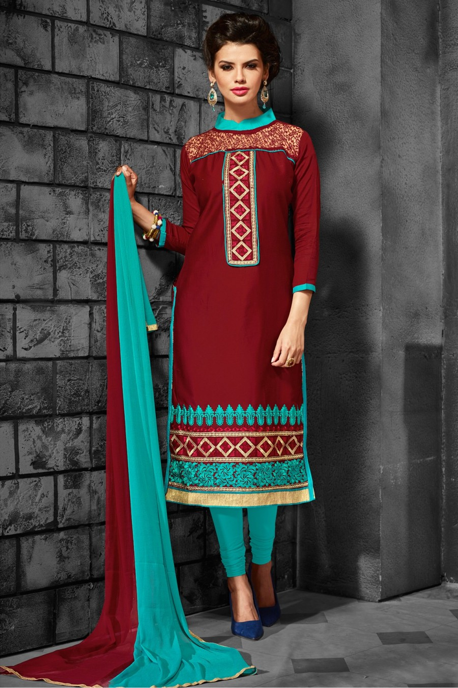 Buy Maroon Cotton Embroidered Dress Material with Bottom Dupatta Online