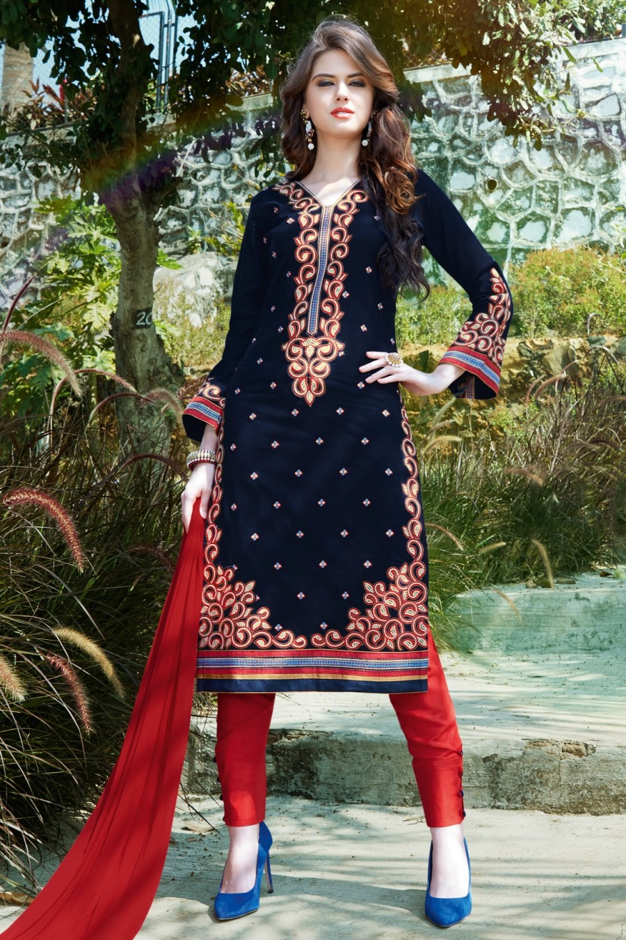 Buy Navy Blue Embroidered Dress Material with Bottom and Dupatta Online
