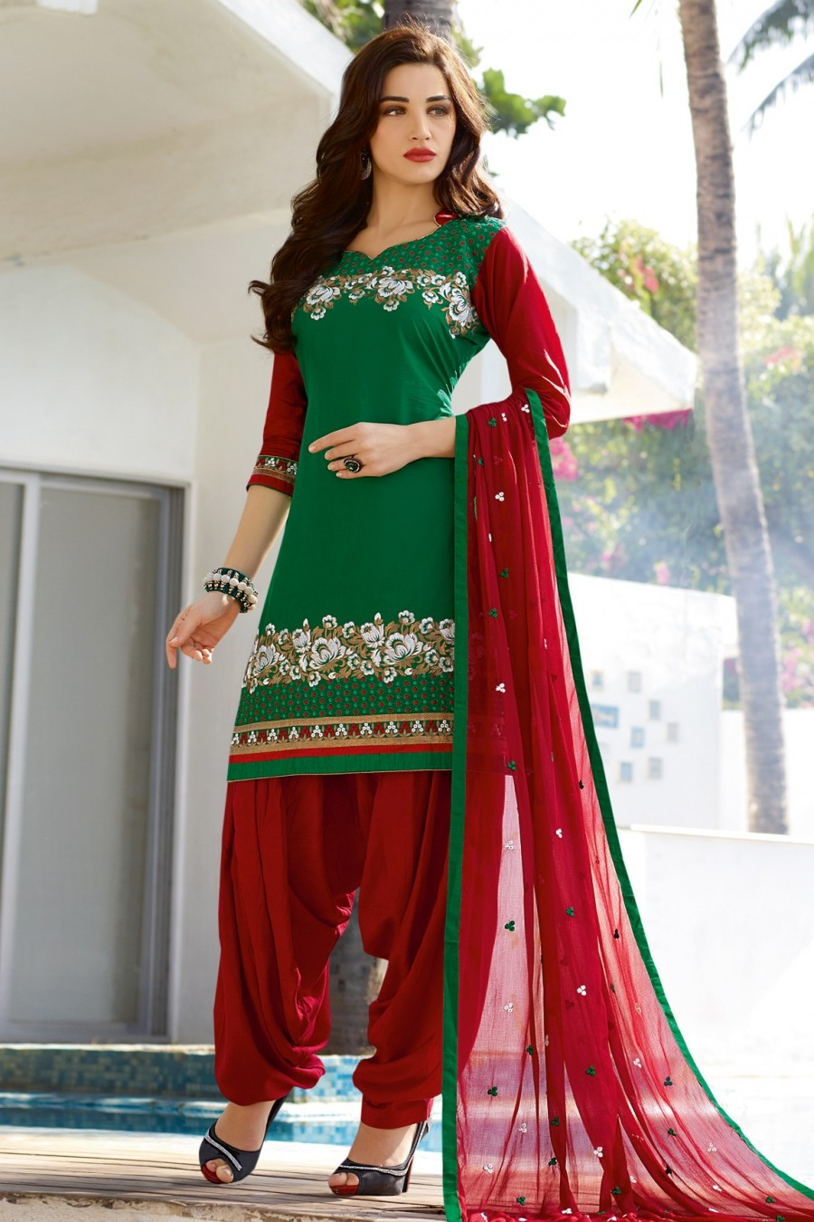 Buy Green Cotton Embroidered Dress Material with Bottom and Dupatta  Online
