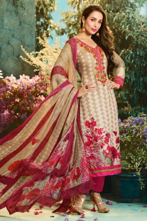 Buy Malaika Arora Light Brown Cotton Digital Print Dress Material with Pure Chiffon Dupatta  Online