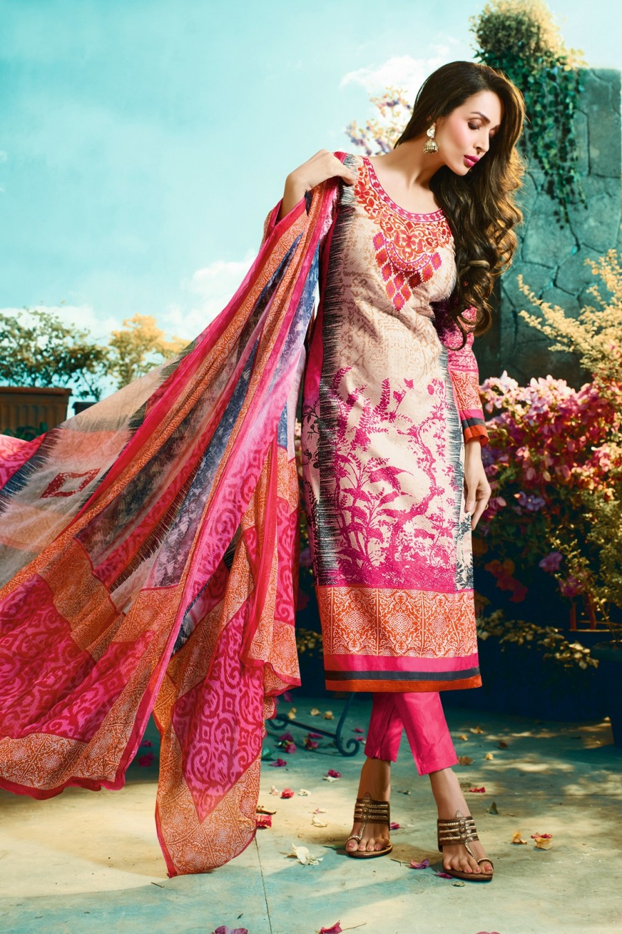 ba1ad51122 Buy Malaika Arora Multi Color Cotton Digital Print Dress Material with Pink  Bottom Pure Chiffon Dupatta