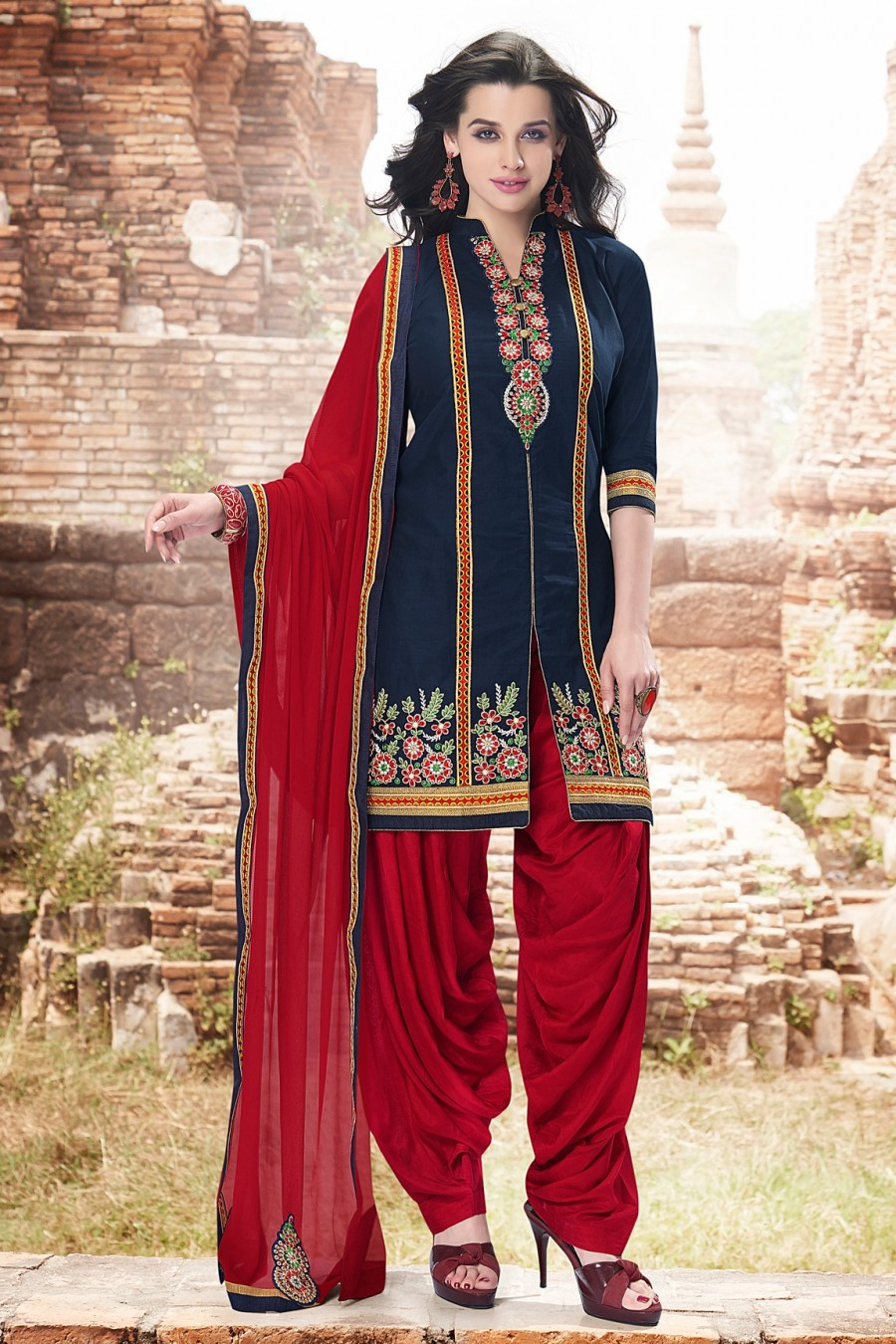 Buy Navy Blue Cotton Embroidered Dress Material with Bottom and Dupatta Online