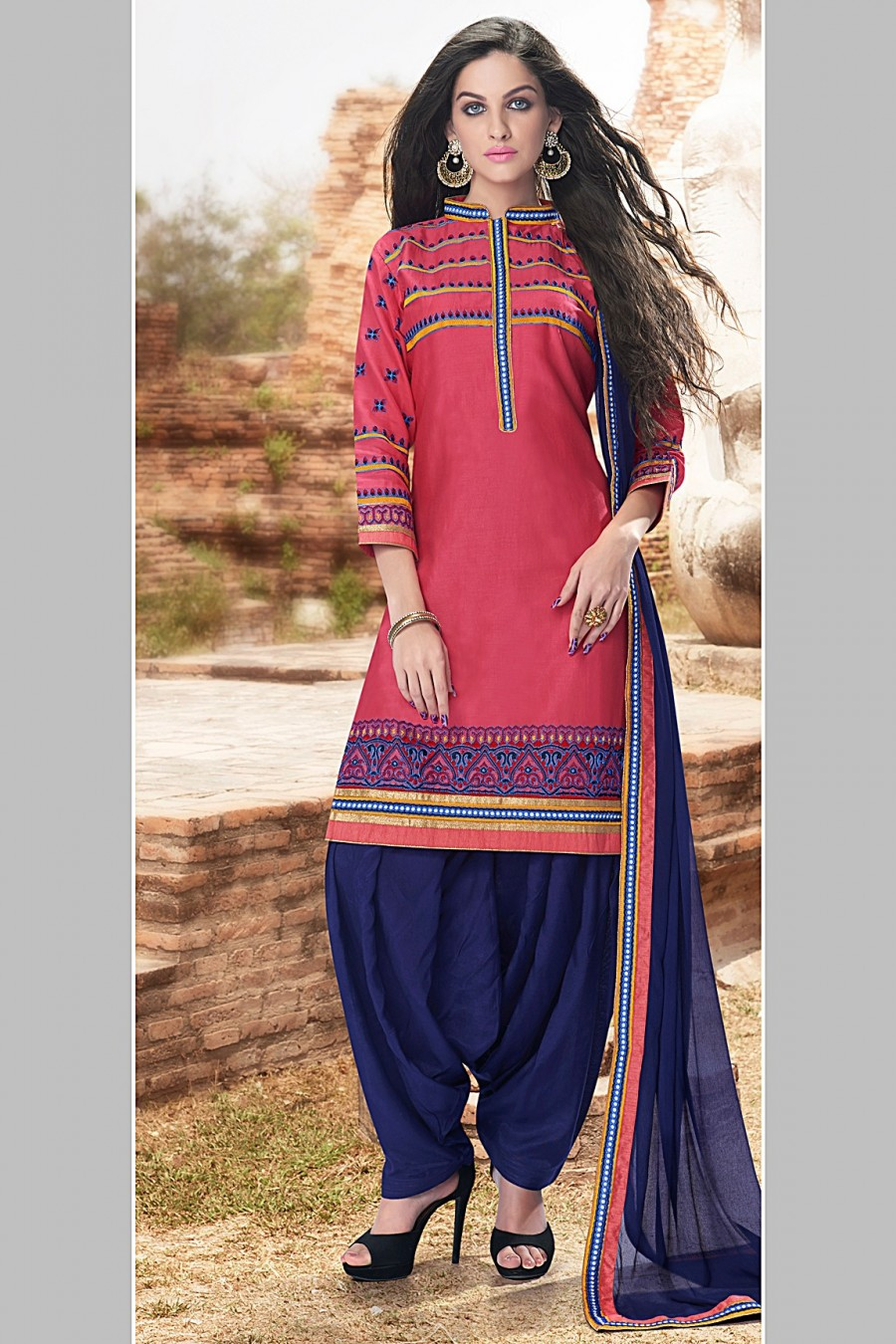 Buy Pink Cotton Embroidered Dress Material with Bottom and Dupatta  Online