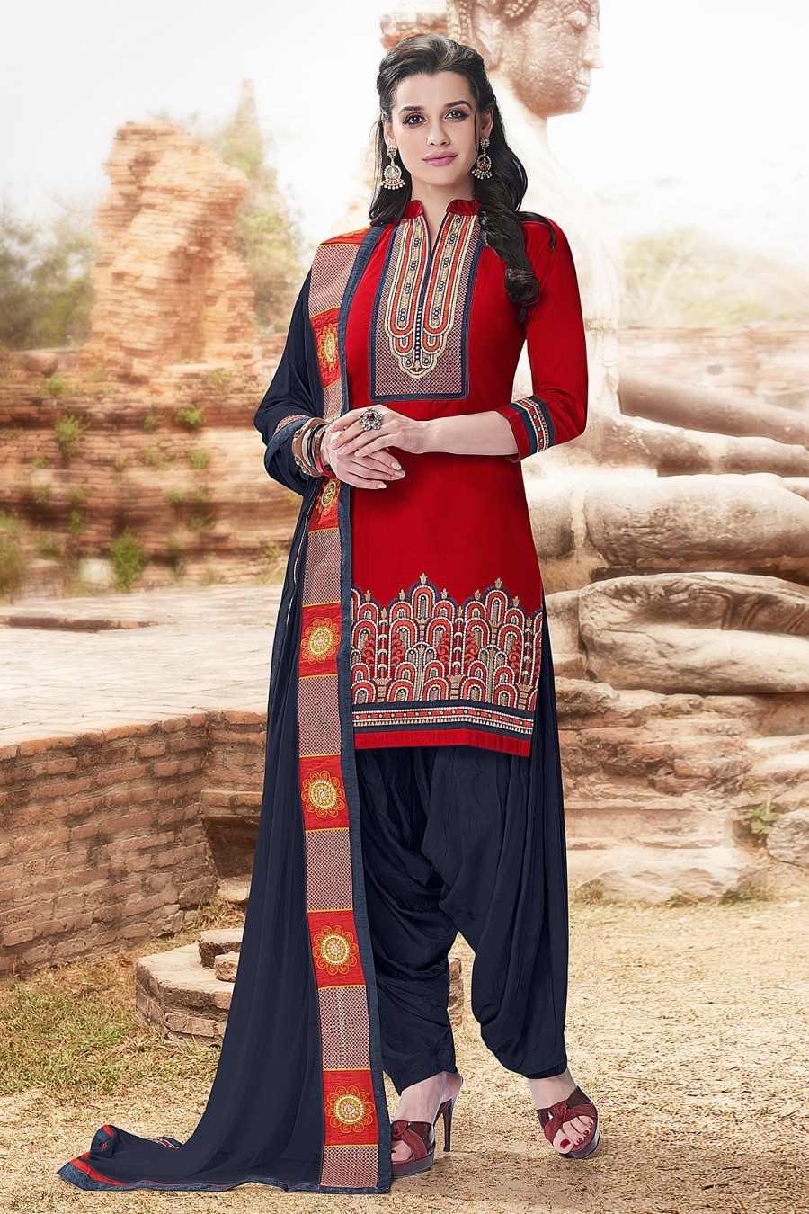 Buy Maroon Cotton Embroidered Dress Material with Bottom and Dupatta Online
