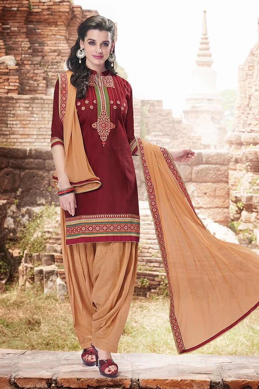 Buy Maroon Cotton Dress Material with Bottom and Dupatta  Online