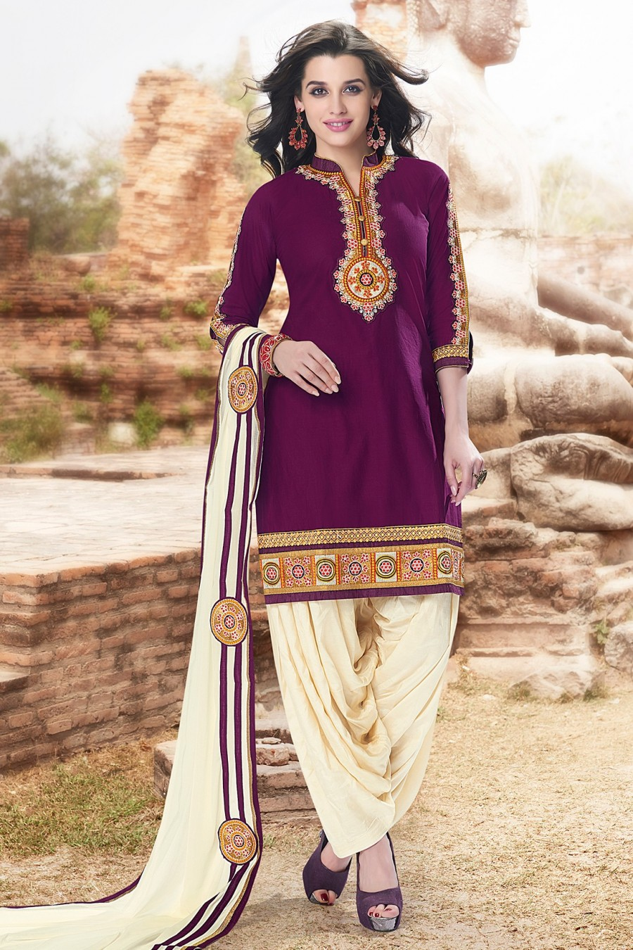 Buy Magenta Embroidered Dress Material with Cream Bottom and Dupatta  Online