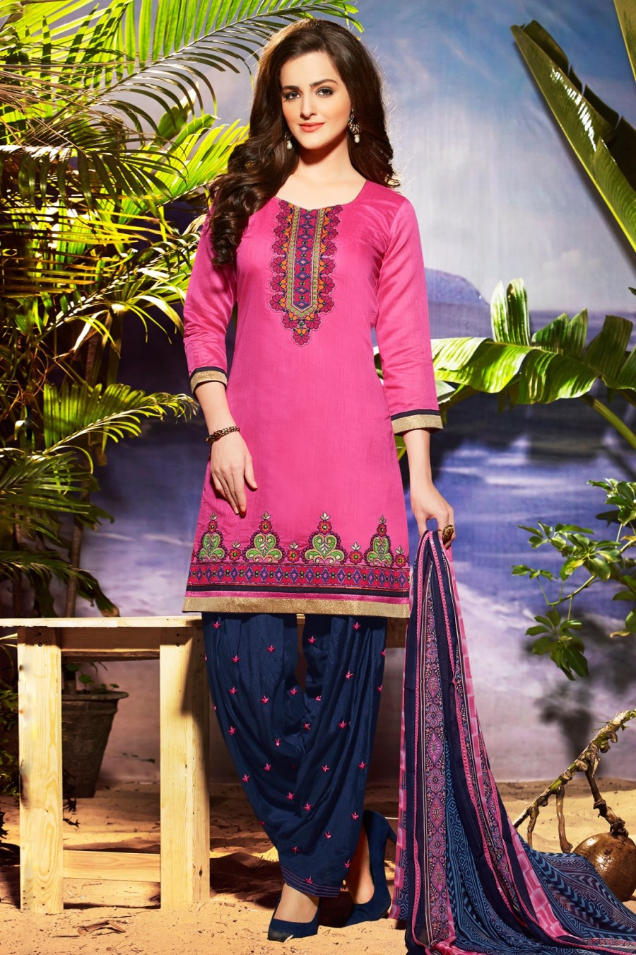 Buy Pink Chanderi Embroidered Patiala Style Dress Material  Online