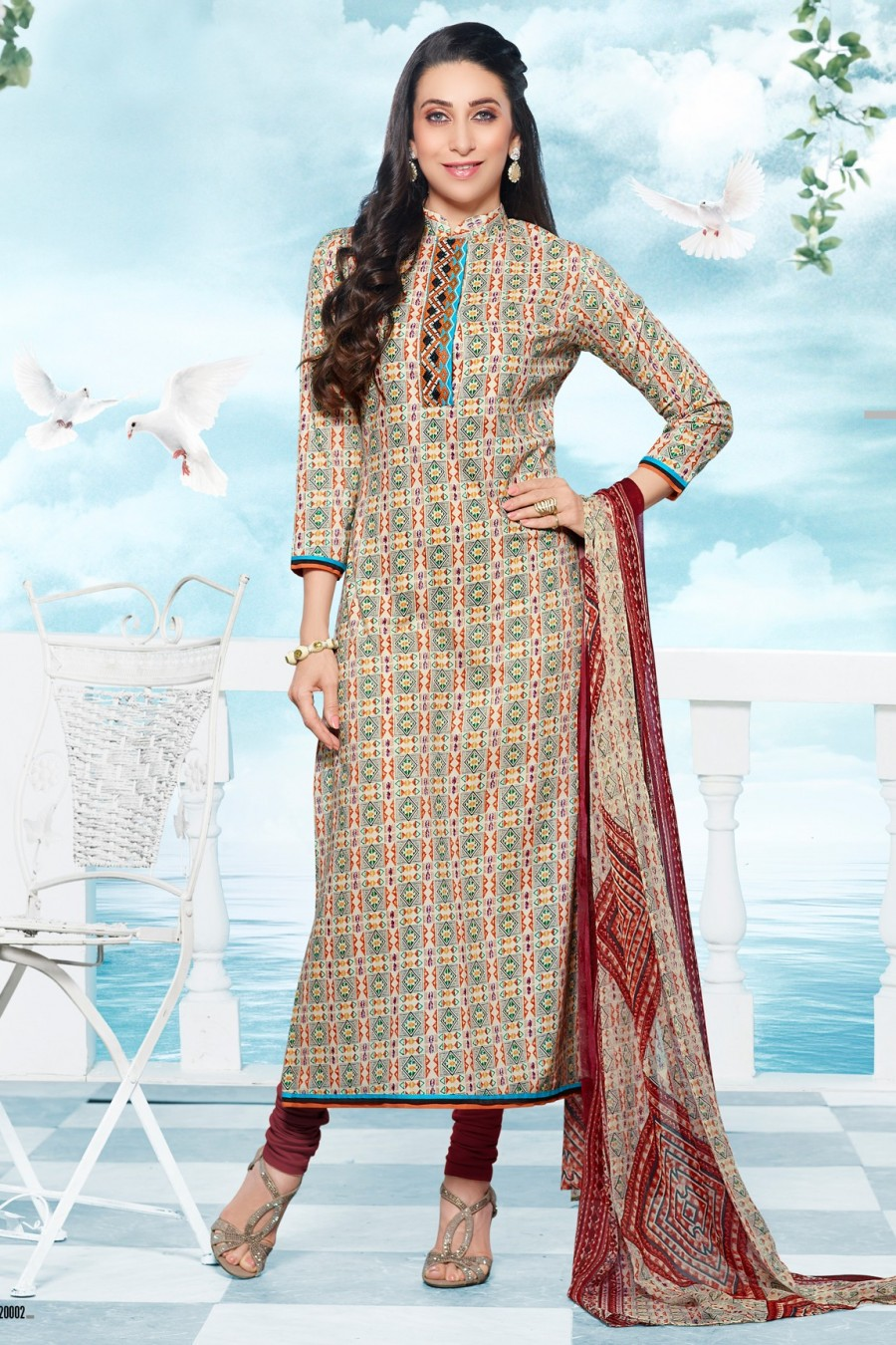 Buy Karisma Kapoor Beige Cotton Dress Material with Bottom and Dupatta  Online