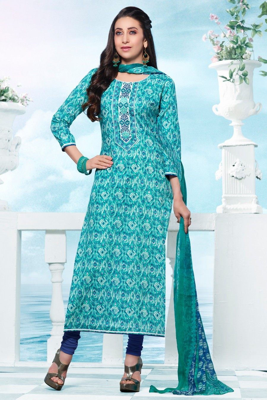 Buy Karisma Kapoor Aqua Cotton Printed Dress Material with Bottom and Dupatta Online