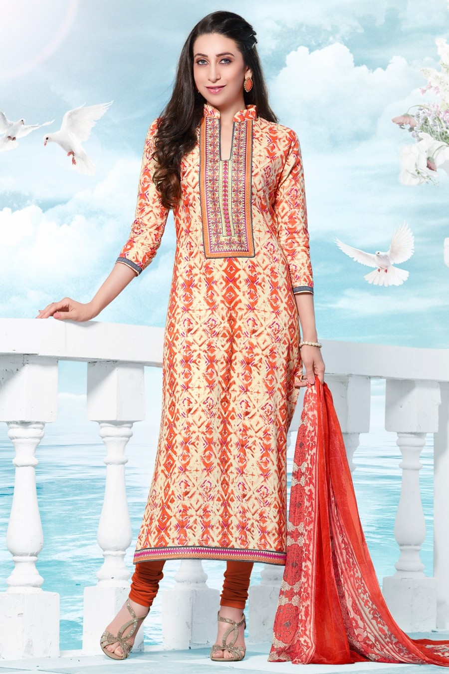 e46ac9a90a Buy Karisma Kapoor Cream and Orange Cotton Dress Material with Bottom and  Dupatta Online