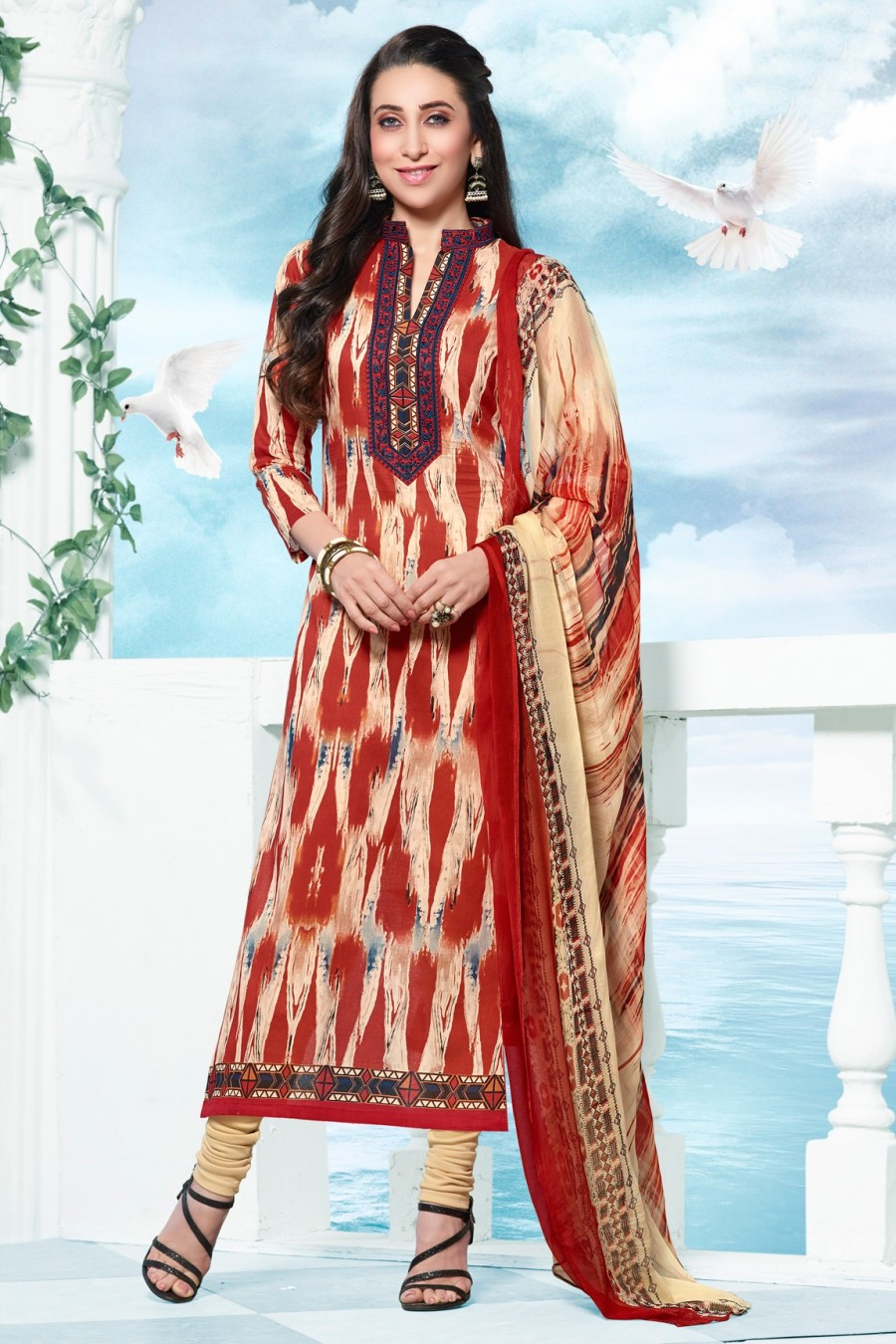 Buy Karisma Kapoor Red Cotton Dress Material with Beige Bottom and Dupatta Online