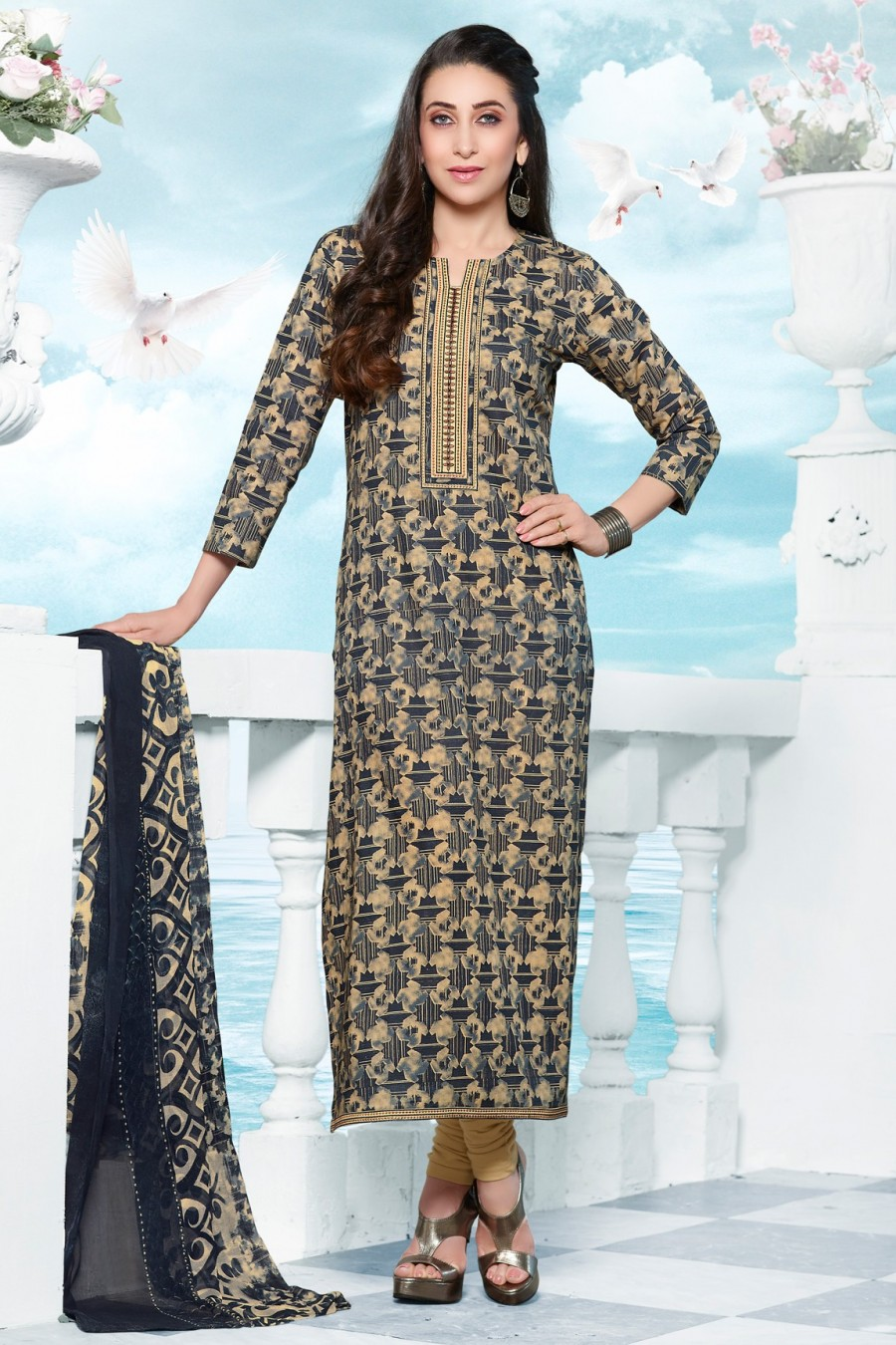 Buy Karisma Kapoor Navy Blue Cotton Dress Material with Bottom and Dupatta Online