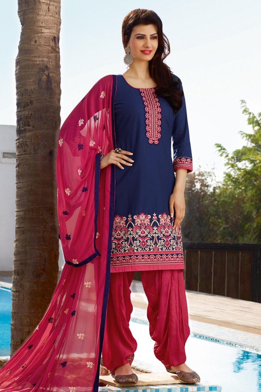 Buy Blue Cotton Embroidered Dress Material with Bottom and Dupatta Online
