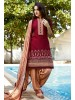Maroon Cotton Patiyala style Dress Material with Bottom and Dupatta