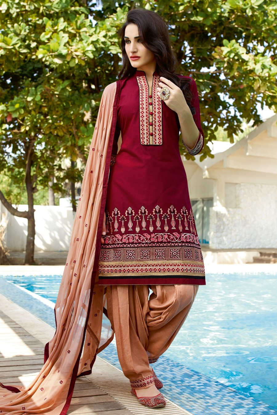 Buy Maroon Cotton Patiyala style Dress Material with Bottom and Dupatta Online