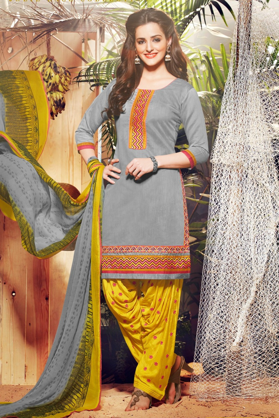 Buy Grey Chanderi Embroidered Dress Material with Bottom and Dupatta Online