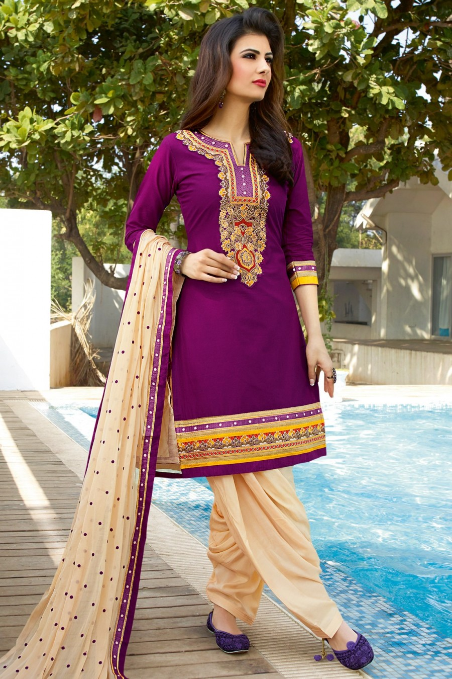 Buy Violet Embroidered Patiyala Style Dress Material with Bottom and Dupatta Online