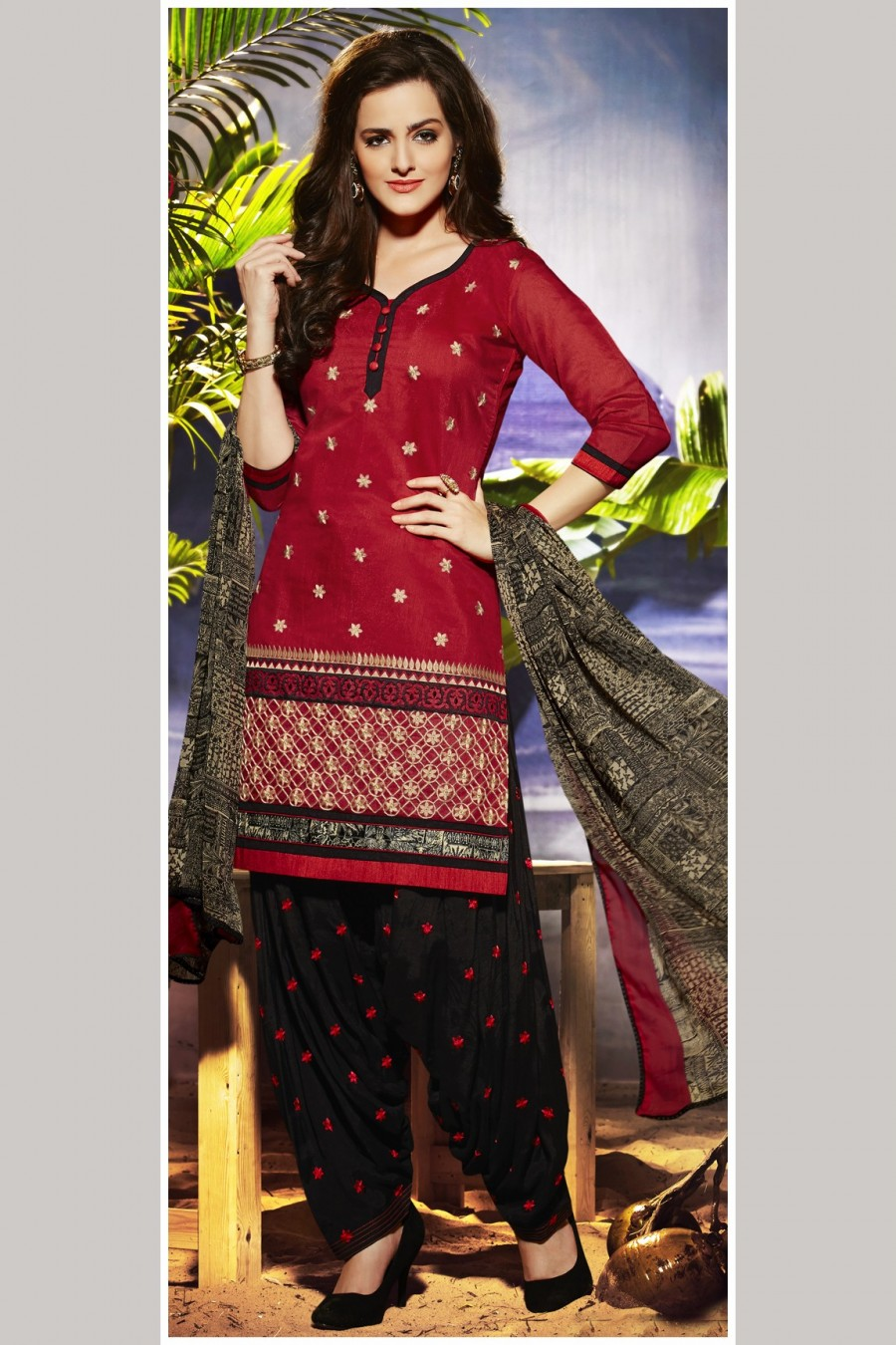 Buy Red Embroidered Patiyala Style Dress Material with Bottom and Dupatta Online