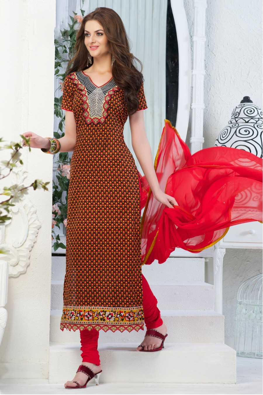 Buy Black Cotton Salwar Kameez with Red Chiffon Dupatta Online